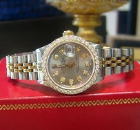 Rolex Ladies Rolex Oyster Perpetual Datejust Diamonds Yellow Gold And Stainless Steel