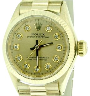 Rolex Ladies Rolex Solid 14k Yellow Gold Oyster Perpetual No-date Watch Diamond 6719