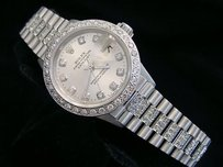 Rolex Ladies Rolex Solid 18k White Gold Datejust President Diamond Dial Bezel Band