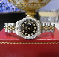 Rolex Ladies Vintage Rolex Oyster Perpetual Datejust Diamonds Black Dial Watch