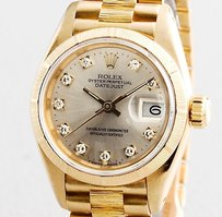 Rolex Lady Rolex 18k Yellow Gold Datejust President Bark Factory Silver Diamond 69278