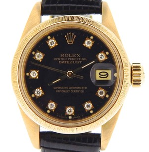 Rolex Lady Rolex Solid 18k Yellow Gold Datejust Bark Wfactory Black Diamond Dial 6927