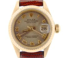 Rolex Lady Rolex Solid 18k Yellow Gold Datejust President Wslate Gray Roman Dial 6917
