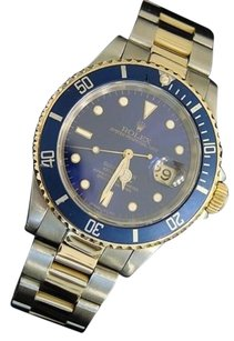 Rolex Rolex Submariner Date Mens 18k Yellow Gold Steel Watch Blue Dial Bezel 16613
