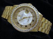 Rolex Men Rolex Solid 18k Yellow Gold Day-date President White Mop Arabic Full Diamond