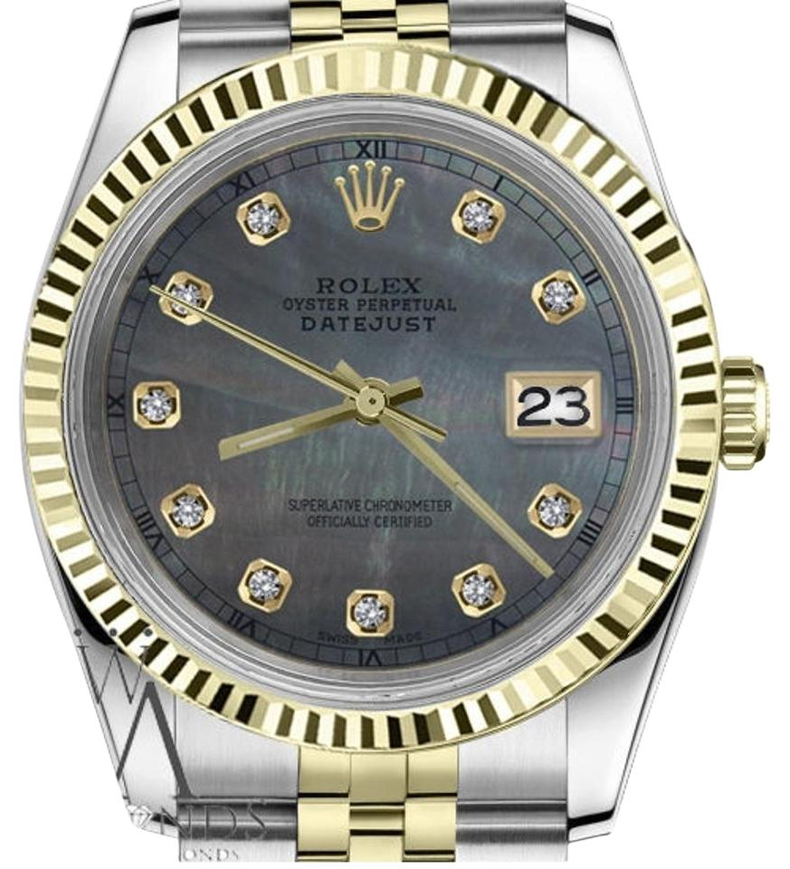 rolex mens 36mm black mop mother of pearl dial with diamond watch tradesy
