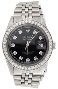 Rolex Mens 36 MM Datejust Jubilee Stainless Steel Black Diamond Watch 2.20 Ct.