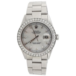 Rolex Mens Diamond Watch 36mm Datejust Oyster Stainless Steel MOP Dial 2 Ct.