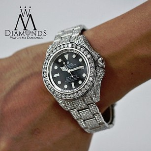 Rolex Mens Diamond Rolex Deepsea Dweller 116660 Completely Covered In Diamonds