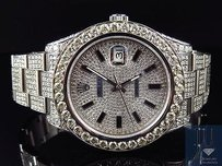 Rolex Mens Full Iced Mm 116300 Rolex Date Just Ii With Genuine Diamonds 28.5 Ct