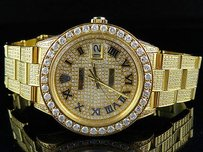 Rolex Mens Gold Plated Steel Rolex Datejust Oyster Mm Dial Diamond Watch With Ct