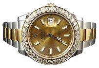 Rolex Mens Mm 116333 Rolex Date Just Ii With Two Tone Genuine Diamond Bezel