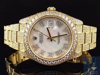 Rolex Mens Mm Rolex Date Just Ii Flooded With Genuine Diamonds Yellow Gold