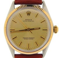Rolex Mens Rolex 14k Goldstainless Steel Oyster Perpetual Watch Champagne Brown 1005