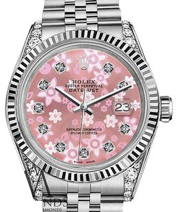 Rolex Mens Rolex 36mm Datejust Glossy Pink Flower Dial With Diamond Accent Watch