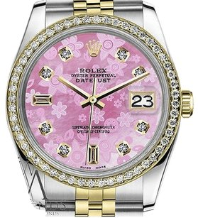 Rolex Mens Rolex 36mm Datejust Tone Pink Flower Mop Mother Of Pearl Dial Watch