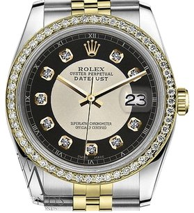 Rolex Mens Rolex 36mm Datejust Tone Silver+black Tuxedo Dial With Diamond