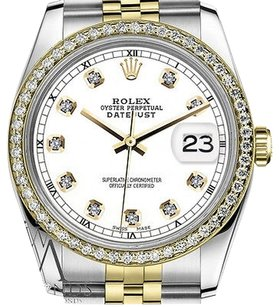 Rolex Mens Rolex 36mm Datejust Tone White Color Dial With Diamond Accent Rt