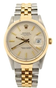 Rolex Mens Rolex Date 2tone 18k Yellow Goldss Watch W Silver Dial 15003