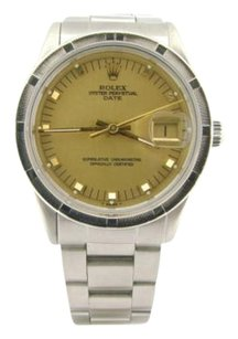 Rolex Mens Rolex Date Stainless Steel Watch Wgold Champagne Dial Quickset 15010