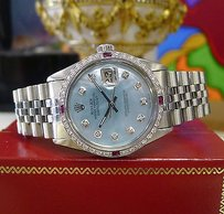 Rolex Mens Rolex Datejust Diamonds Mother Of Pearl White Gold Stainless Steel Watch