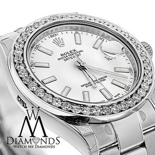 Rolex Mens Rolex Datejust Ii 2 White 41mm Automatic Watch Diamond Bezel 116300