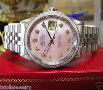 Rolex Mens Rolex Datejust Pink Mop Diamond Stainless Steel Watch