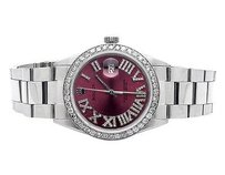 Rolex Mens Rolex Mm Datejust Oyster Red Roman Stainless Steel Diamond Watch Ct