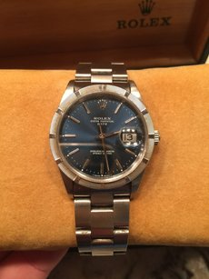 Rolex Mens Rolex Oyster Perpetual Date 34 Steel & White Gold Watch Blue Dial