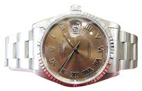 Rolex Mens Rolex Oyster Perpetual Datejust Copper Salmon Dial Stainless Steel Watch