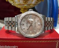 Rolex Mens Rolex Oyster Perpetual Datejust Diamond Dial Diamond Bezel Stainless