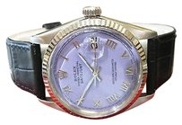 Rolex Mens Rolex Oyster Perpetual Datejust Stainless Steel Gold Purple Face Watch