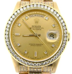 Rolex Mens Rolex Solid 18k Yellow Gold Day-date President Champagne Full Diamond 18238