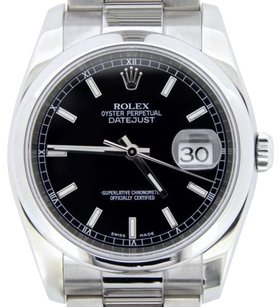 Rolex Mens Rolex Stainless Steel Datejust Watch Black Woyster Band Style 116200