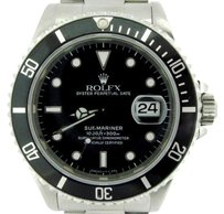 Rolex Mens Rolex Stainless Steel Submariner Date Watch Wblack Dial Bezel Sub 16610