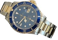 Rolex Mens Rolex Submariner Date 2tone 18k Yellow Goldstainless Steel Watch Blue Sub