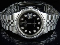 Rolex Mens Stainless Steel Rolex Datejust 36mm Jubilee Black Dial Diamond Watch 2.65ct