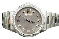 Rolex Mens Stainless Steel Rolex Datejust Oyster Watch With 2.15ct Diamond Silver Dial