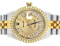 Rolex Mens Stainless Steel Rolex Two Tone Datejust Mm Gold Roman Number 2.8 Ct