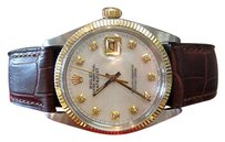 Rolex Mens Vintage Rolex Oyster Perpetual Datejust Diamond Dial Watch On Leather Strap