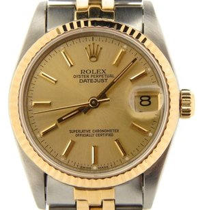 Rolex Midsize Rolex 18k Yellow Goldstainless Steel Datejust Wchampagne Dial 68273
