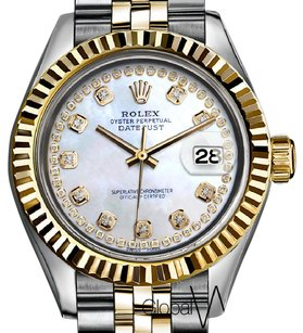 Rolex Natural Pearl Diamond String Rolex 36MM 2-tone 18K Yellow Gold & Stain