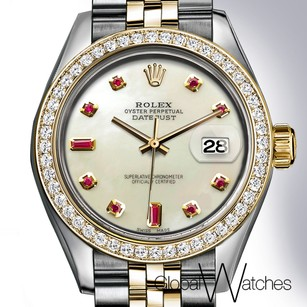 Rolex Natural Pearl _ Ruby Face Rolex Datejust 26MM Two-tone 18K Yellow Gold