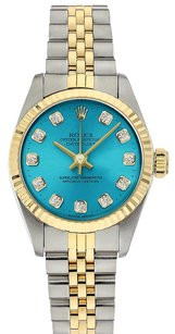Rolex Oyster Perpetual Two-Tone Custom Pastel Green diamond Dial No Date Watch