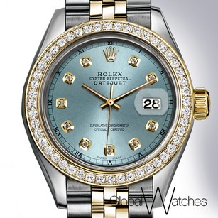 Rolex Pale Blue Diamond Face Rolex Datejust 26MM Small Size 18K Yellow Gold