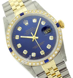 Rolex Preowned Datejust Blue Diamond Mens Watch 36mm 16013