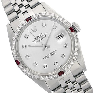Rolex Preowned Datejust Silver Ruby Diamond Mens Watch 36mm 16014