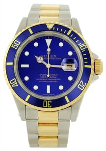 Rolex Preowned Rolex 2Tone Submariner Blue Dial Watch 16613
