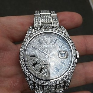 Rolex Real Rolex Datejust Ii 116300 41mm Pave Diamond Dial - Stainless Steel Watch