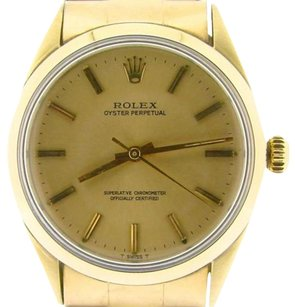 Rolex Rolex 14k Gold Shell Oyster Perpetual No-date Watch Champagne Woyster Band 1024